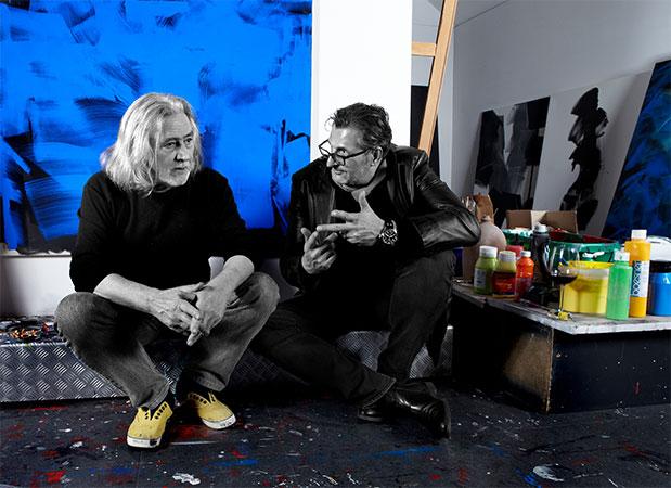 Reinhard Diezl mit Freund & Kunstsammler Dr. Franz Tschurlovich im Atelier